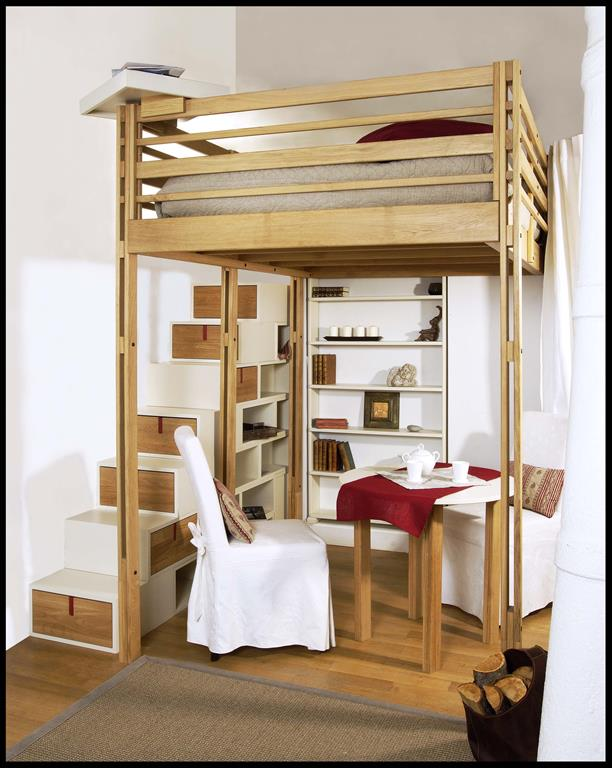 Chambre - Escalier avec rangement integre ...