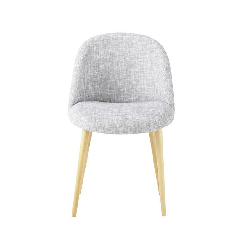 Chaise vintage gris clair chiné et bouleau Mauricette