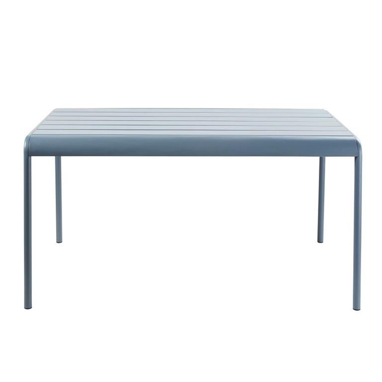 Table de jardin en métal bleu gris 4/6 personnes L140 Batignolles