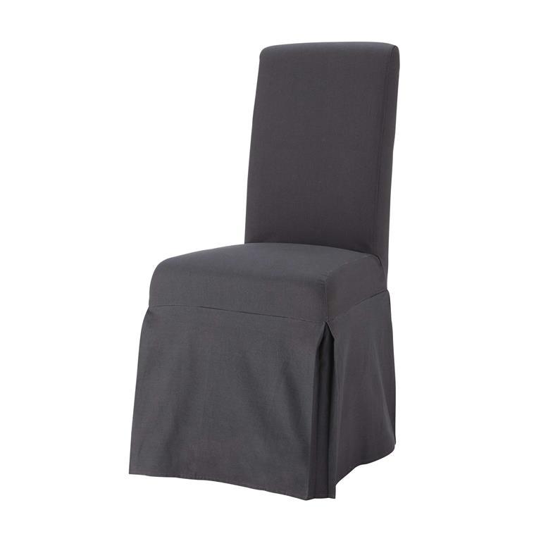 Housse longue de chaise en coton anthracite Margaux