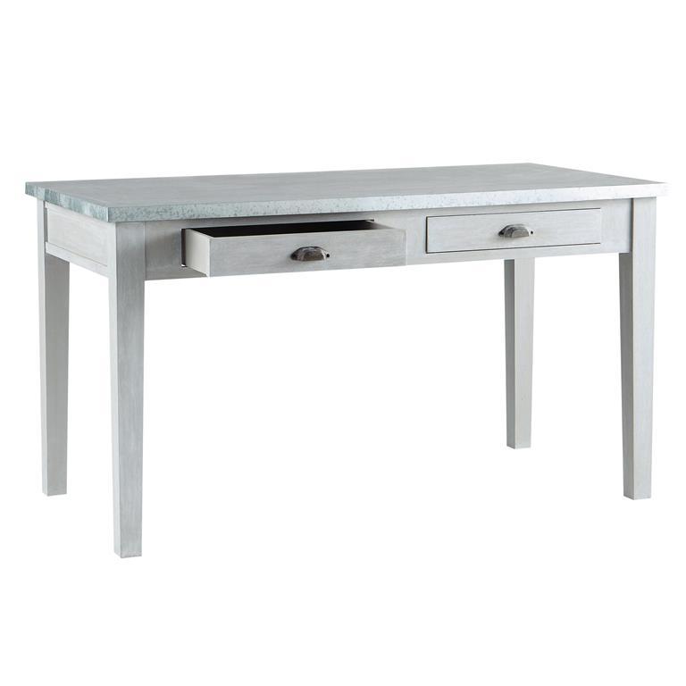 Table de salle à manger en bois d'acacia gris L 140 cm Zinc