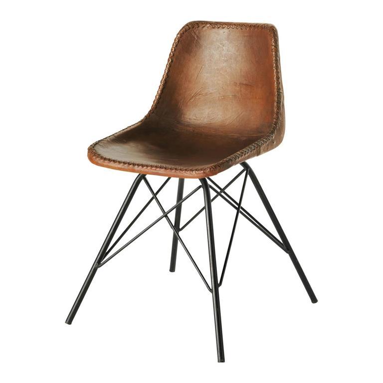 Chaise indus en cuir marron austerlitz maisons du monde for Chaise cuir marron