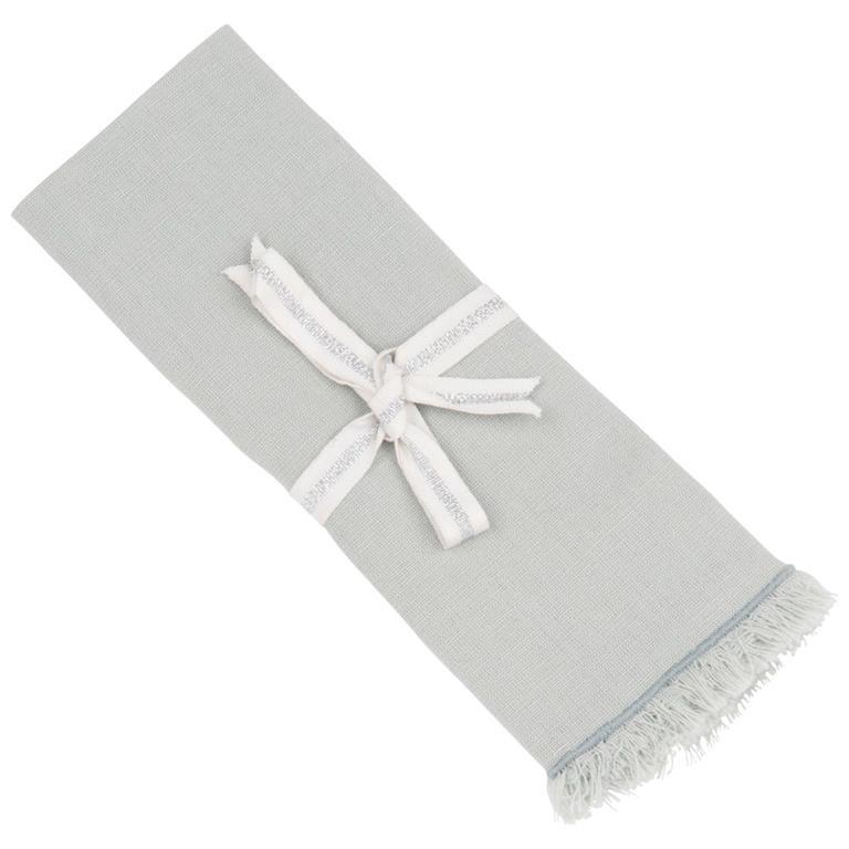 Serviette et rond de serviette en coton et lin bleu 40x40