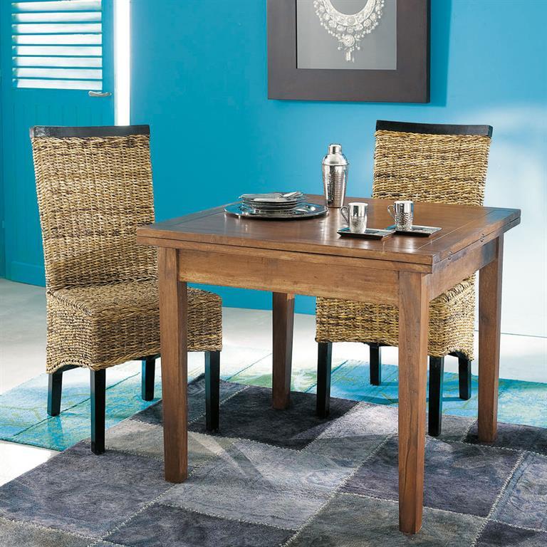 chaise en abaca et mahogany massif bengali
