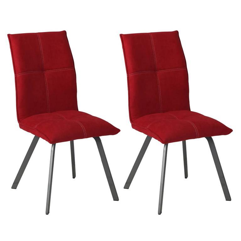 Lot de 2 Chaises Tissu Coloris Rouge