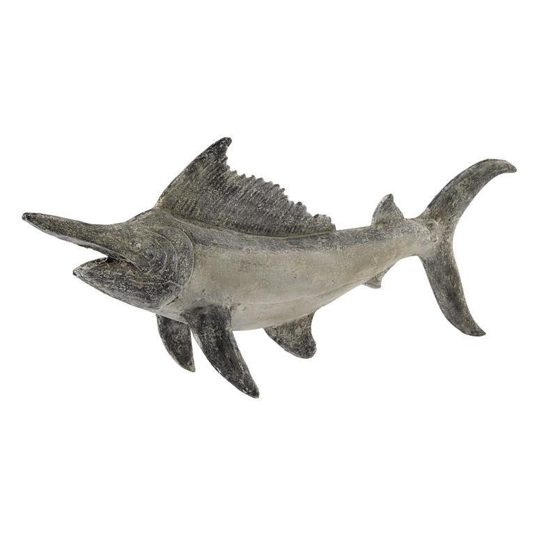 Statue poisson en résine grise L 126 cm HEMINGWAY