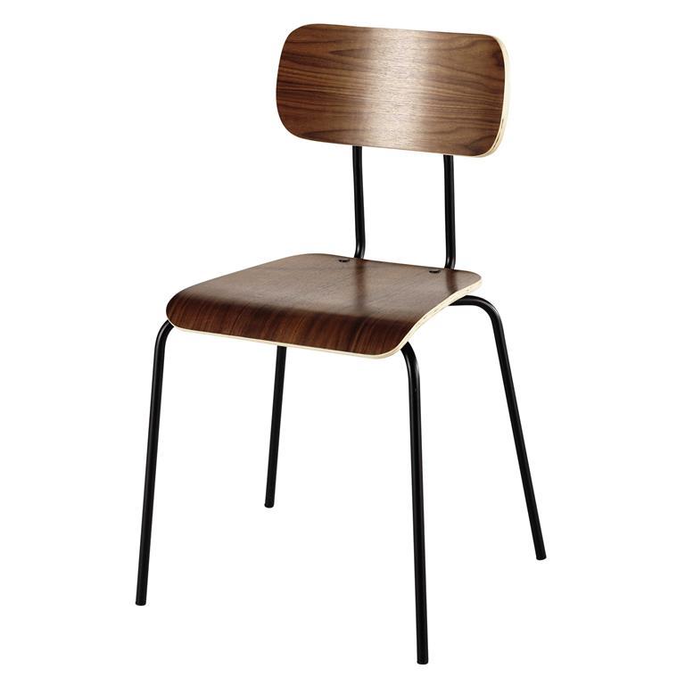 Chaise en métal et placage noyer Walnut