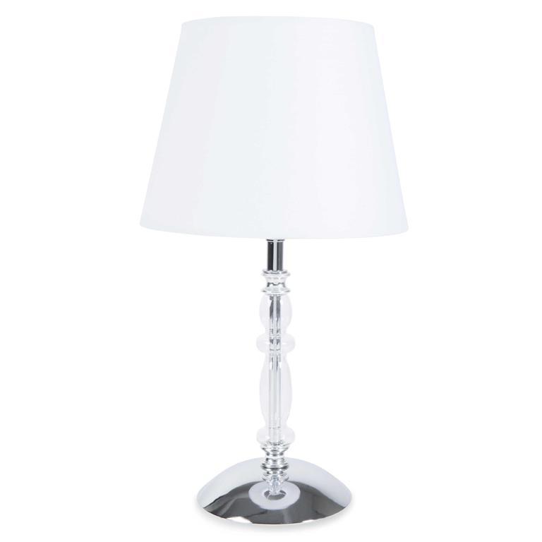 Lampe bougeoir en métal et verre avec abat-jour blanc