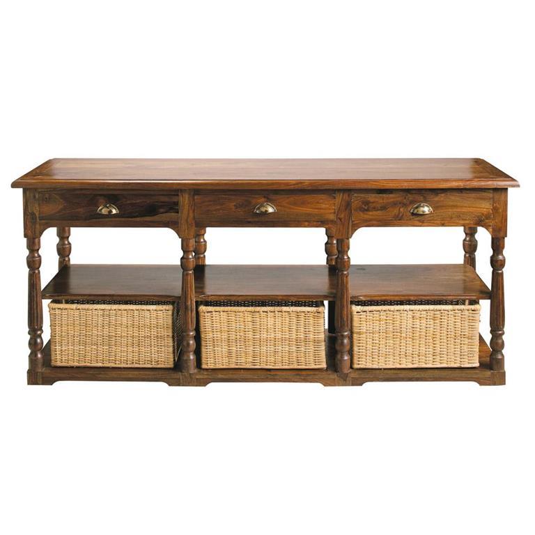 Table console en bois de sheesham massif L 180 cm Luberon
