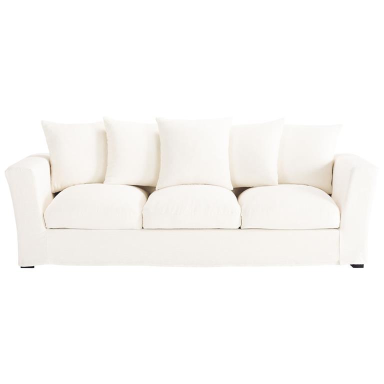 Canapé 4 places en lin blanc Bruxelles