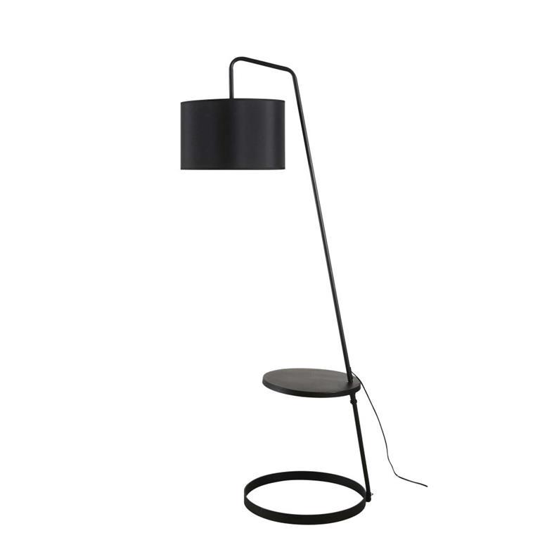 Lampadaire étagère en métal noir H152