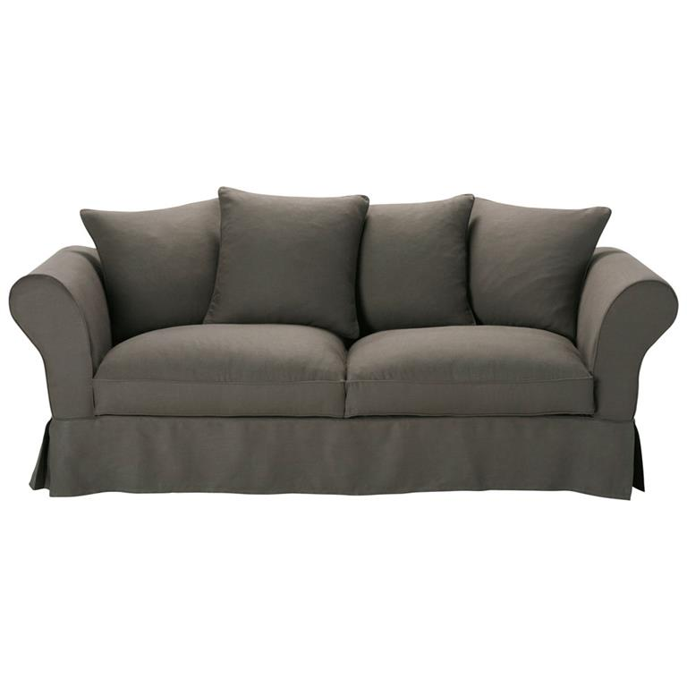 Canapé 3/4 places en lin taupe grisé Roma