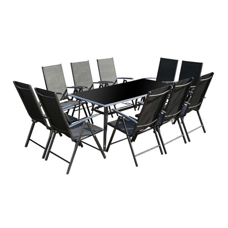 Table de jardin et 10 chaises en aluminium