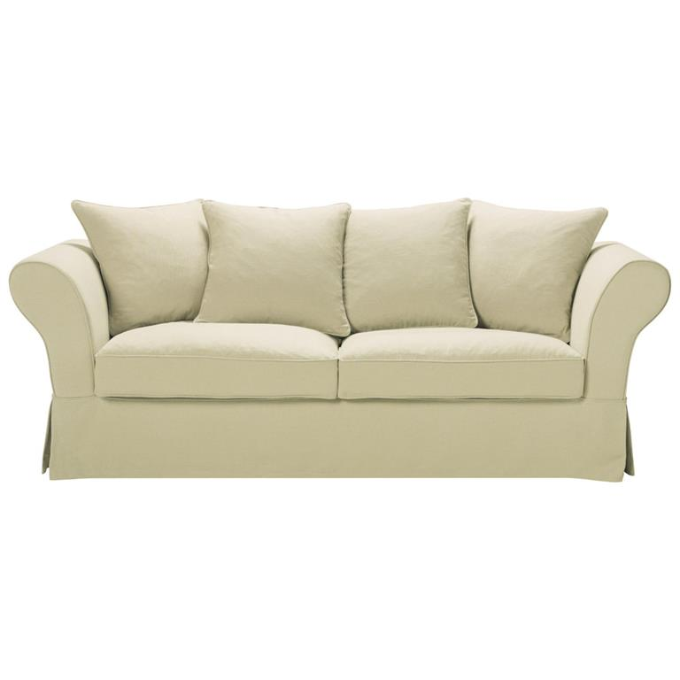 Canapé-lit 3/4 places en lin beige Roma