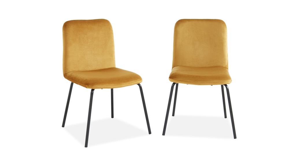 Lot de 2 chaises en velours jaune moutarde piètement en métal noir