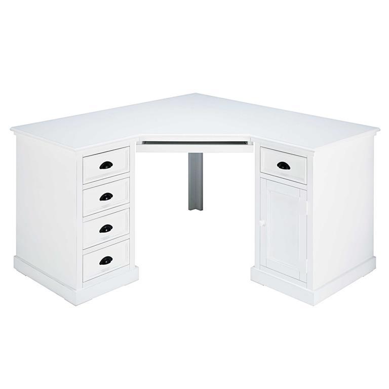 Bureau d'angle 1 porte 5 tiroirs en sapin blanc Newport