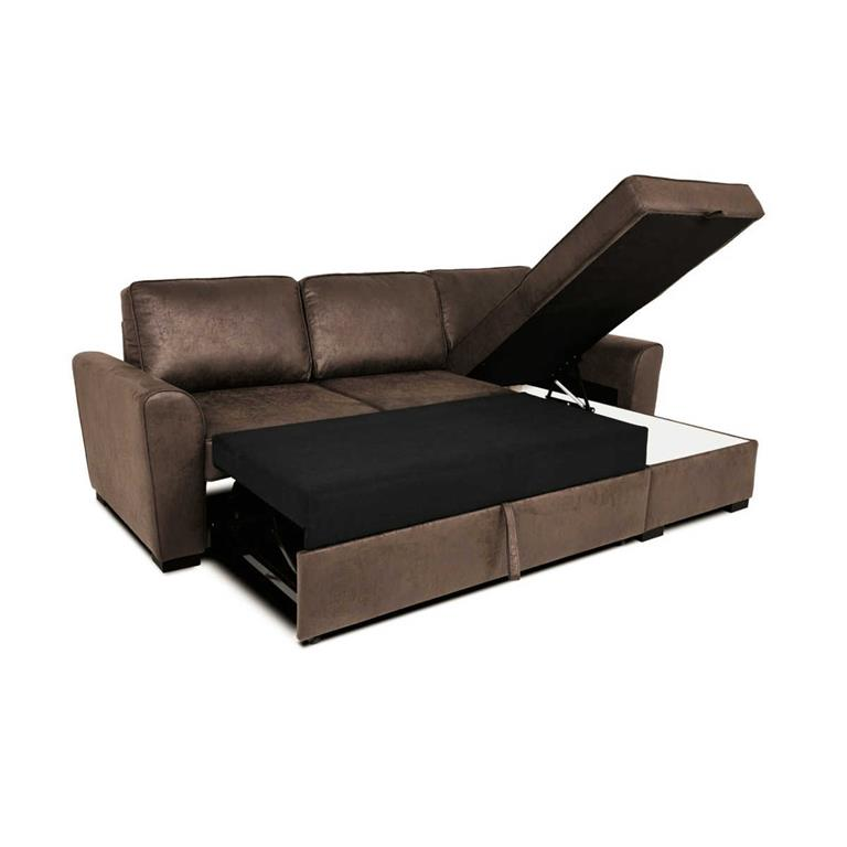 Canape d39angle convertible 3 4 places en microsuede marron for Canapé 3 places pour amenagement sejour salon