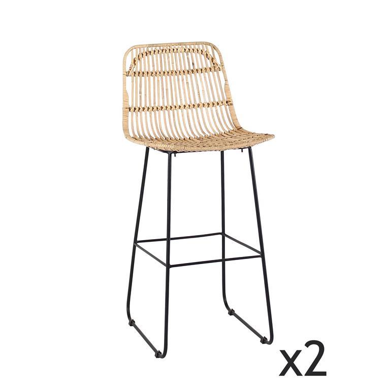 Lot de 2 chaises de bar en rotin