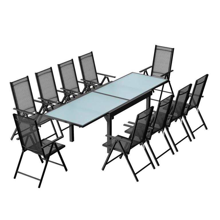 Table de jardin extensible 10 fauteuils en alu et textilène