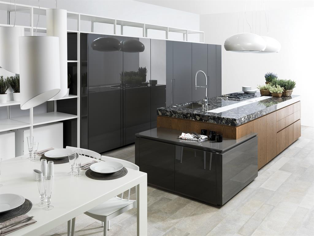 cuisine laqu brillant et placage bois porcelanosa. Black Bedroom Furniture Sets. Home Design Ideas