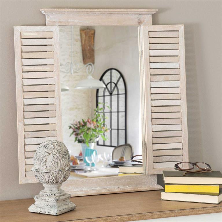 Miroir persiennes en bois H 60 cm OLIVETTES