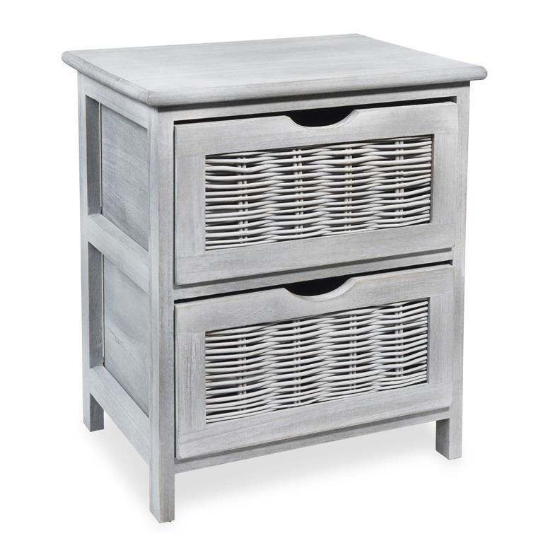 Petit meuble 2 tiroirs en bois H 46 cm