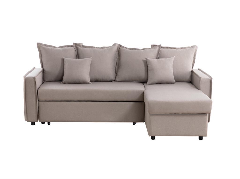 Canapé d'angle convertible et réversible avec coffre en tissu beige