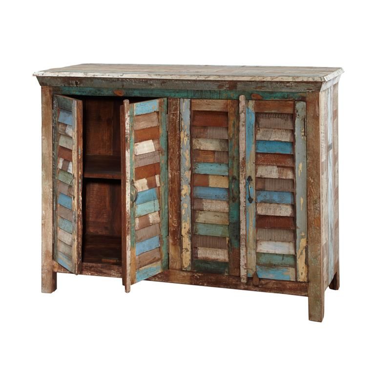 buffet en bois recycl multicolore l 120 cm calanque. Black Bedroom Furniture Sets. Home Design Ideas