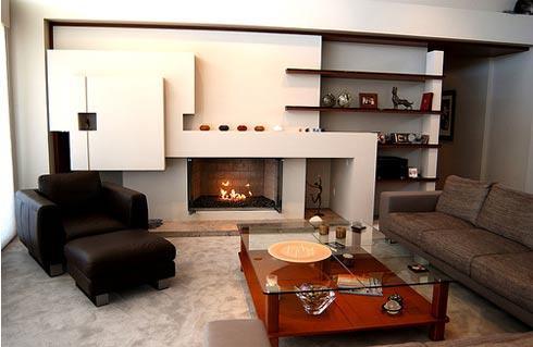 Salon avec meuble chemin e sur mesure cr ation style int rieur for Salon avec cheminee