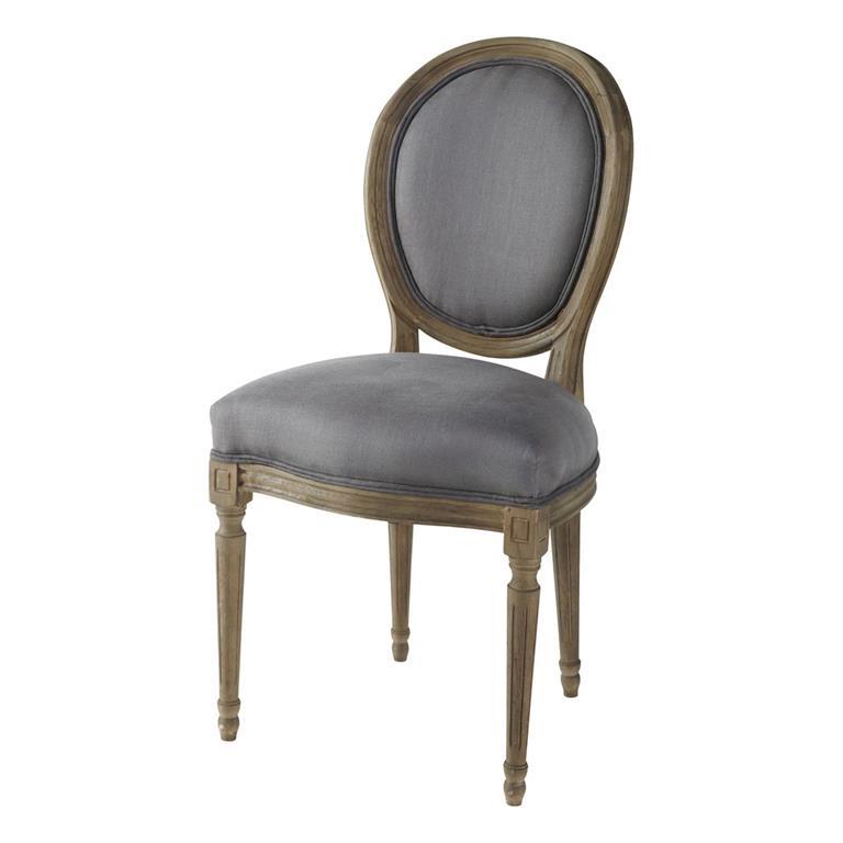 Chaise médaillon en lin et chêne massif taupe grisé Louis
