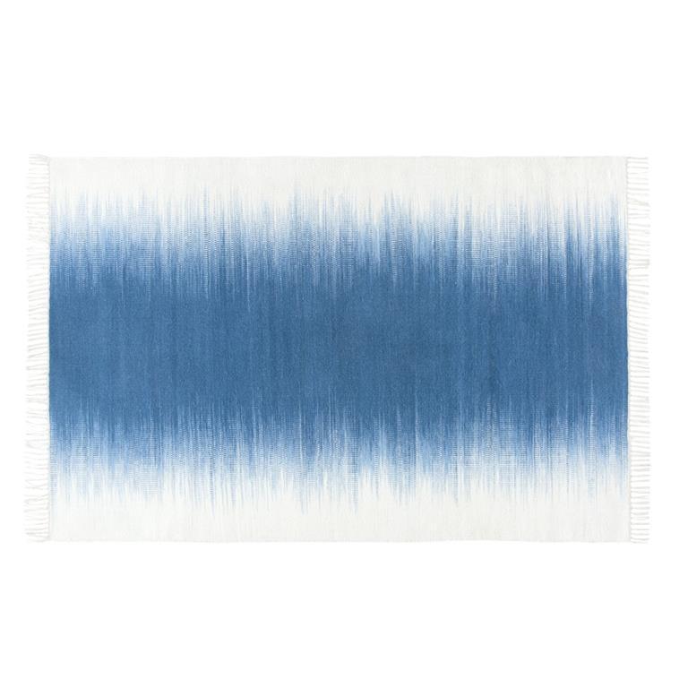 Tapis tissé en laine bleue et écrue 160x230