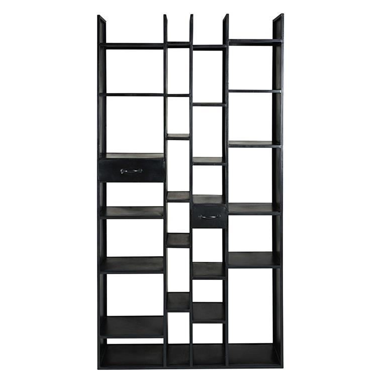 Étagère 2 tiroirs en métal noir mat Steel