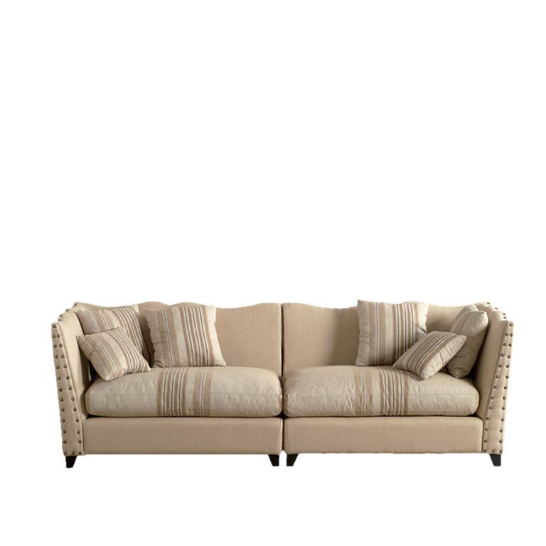 Canapé avec structure en bois et revêtement en jute