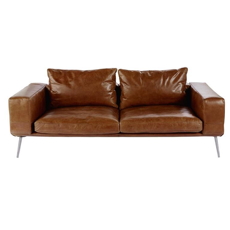 Canapé vintage 3 places en cuir cognac Benny