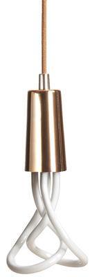 Suspension Drop Cap / Sans ampoule - Plumen cuivre en tissu