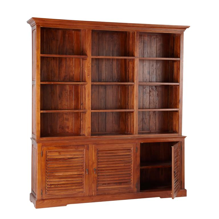 Bibliothèque avec portes en teck massif teinté L 212 cm Key Largo 3083f75356d3