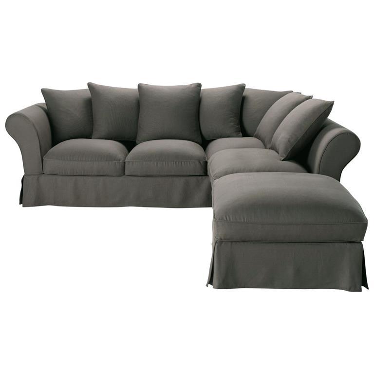 Canapé d'angle convertible 6 places en lin taupe grisé Roma
