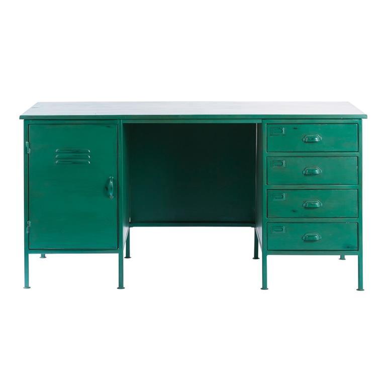 Bureau indus 1 porte 4 tiroirs en métal vert Nino