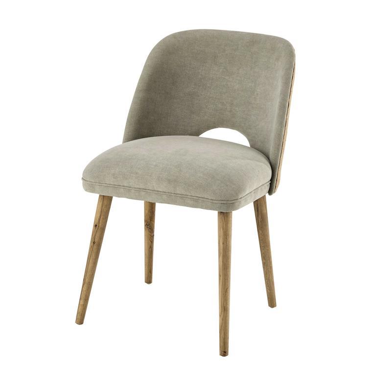 Chaise en lin et chêne massif Meryl