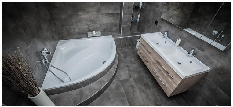 Salle de bain moderne grise avec meuble double vasque et - Meuble d angle pour salle de bain ...