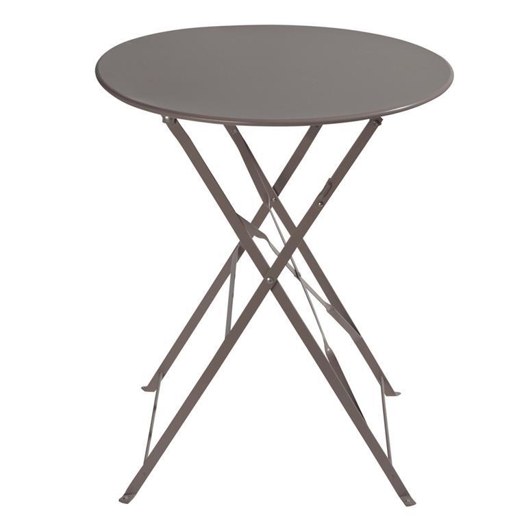 Table de jardin pliante en métal taupe D58 Guinguette