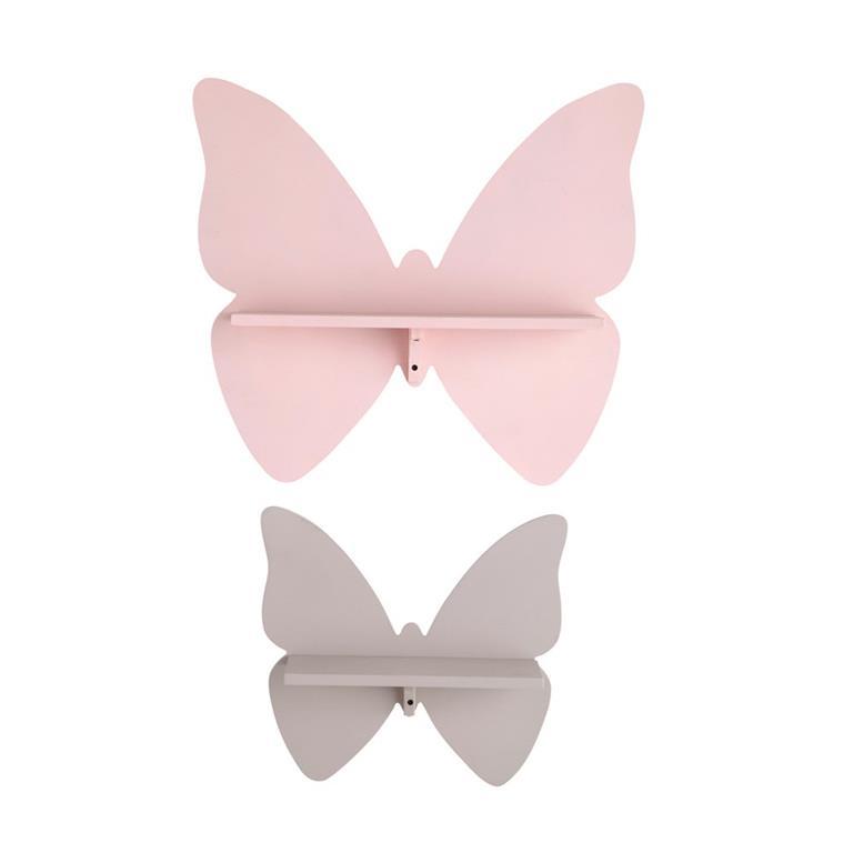 Étagères murales papillons rose et taupe