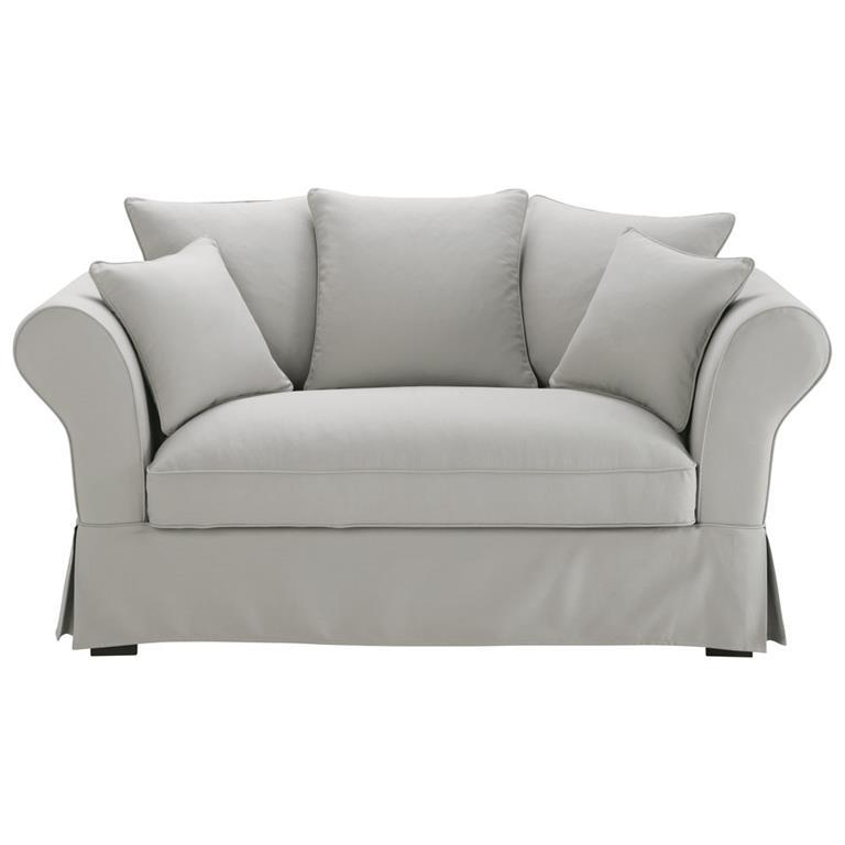 Canapé 2/3 places en coton gris clair Roma