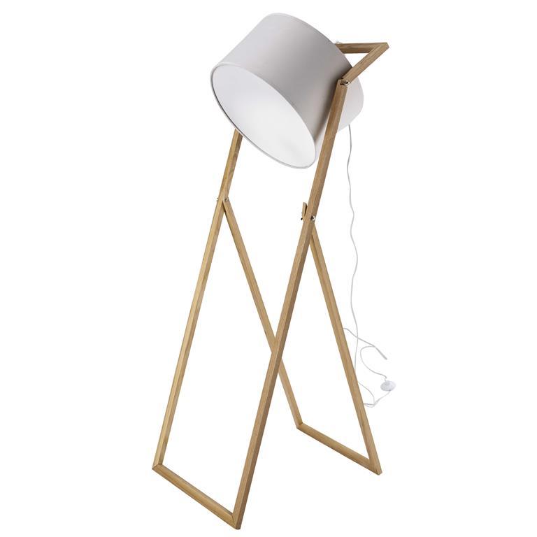 Lampadaire projecteur en bois et coton écru H 160 cm CREATIVE
