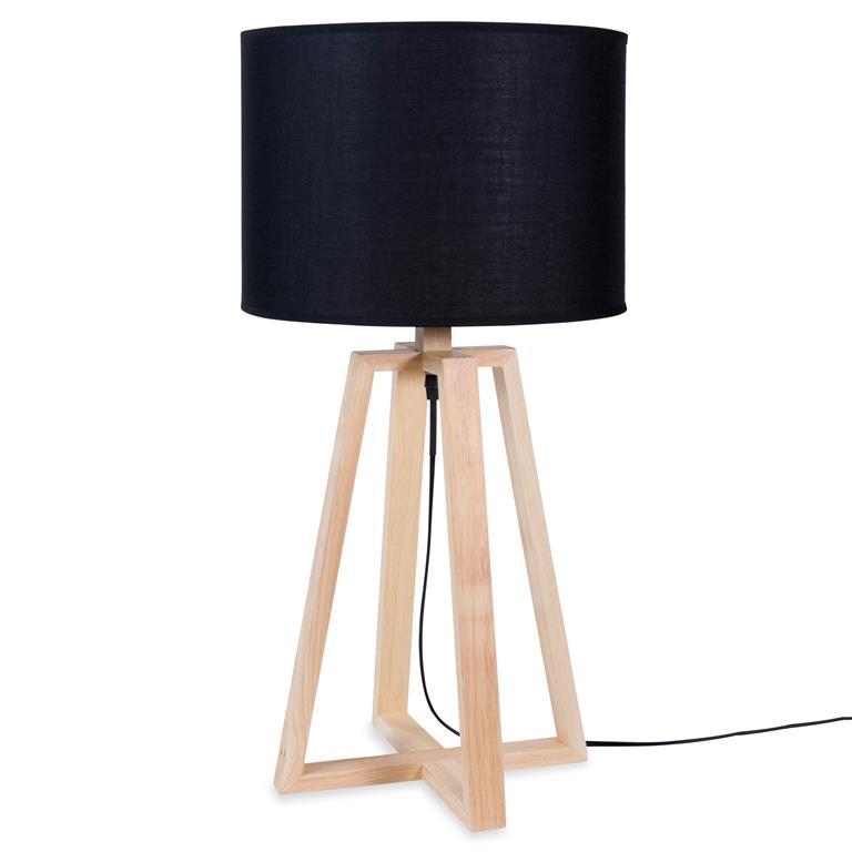 Lampe en bois et tissu noire H 65 cm NELLY