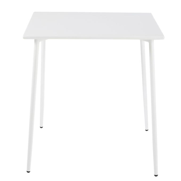 Table de jardin carrée en métal blanc 8 personnes L120 Zinav