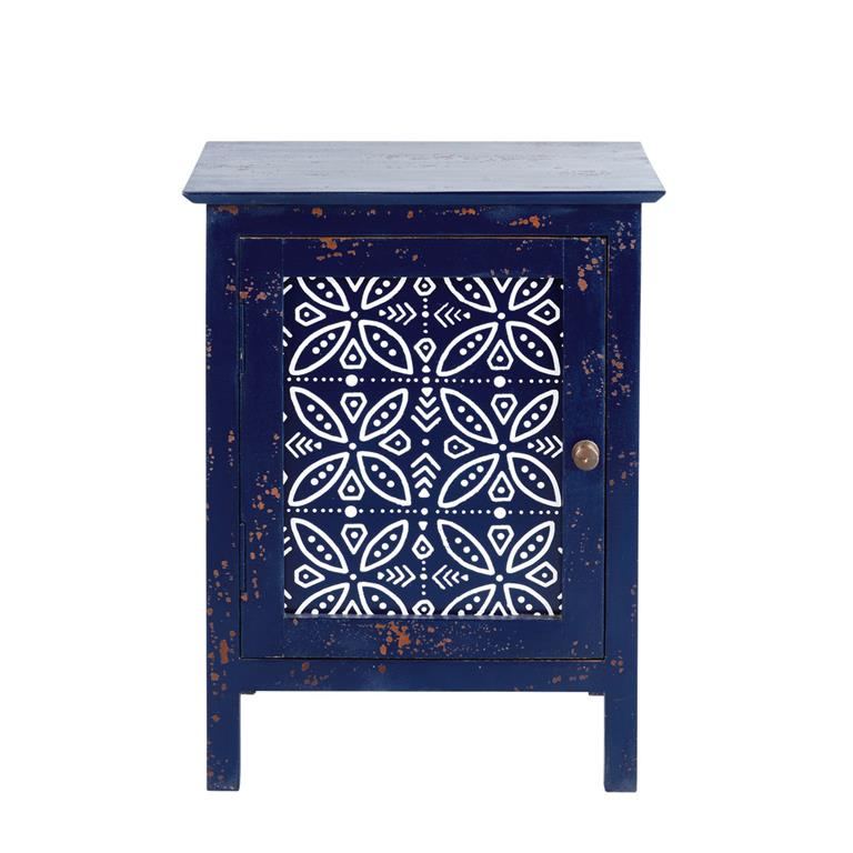 Table de chevet 1 porte en manguier massif bleu Shibori
