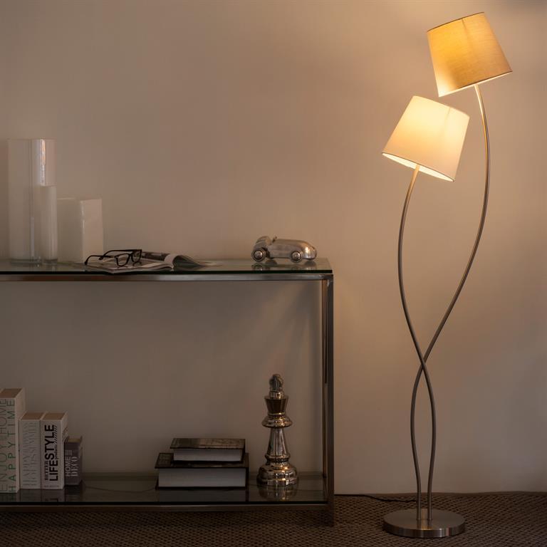 Lampadaire en métal et tissu blanc H 160 cm DUO