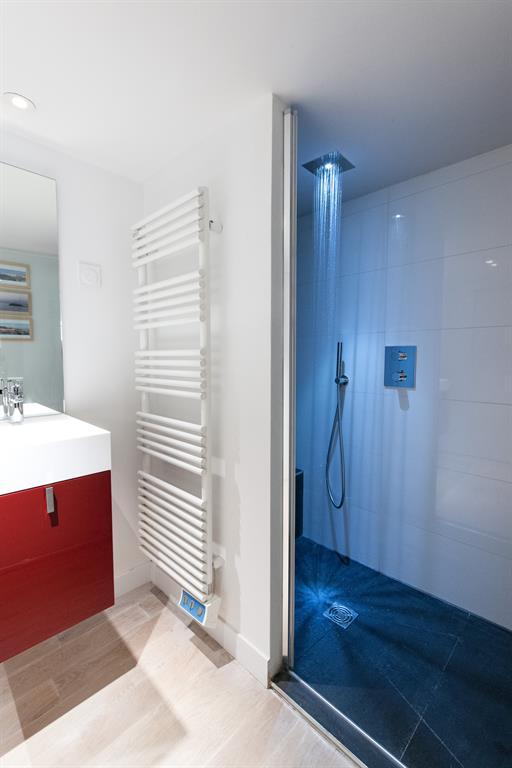La salle d'eau offre une douche équipée d'une douche de tête encastrée
