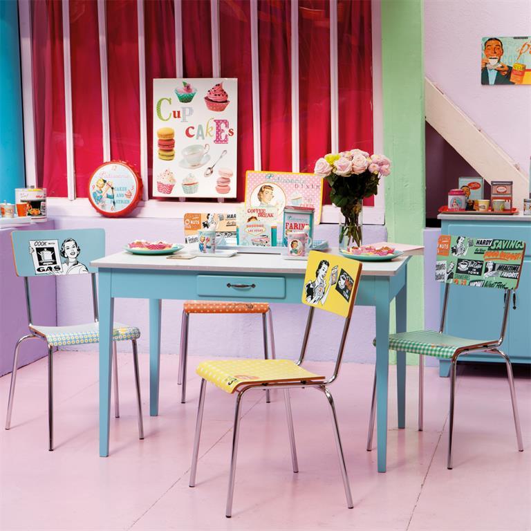 Table de salle à manger en bois bleu L 120 cm Kitchen
